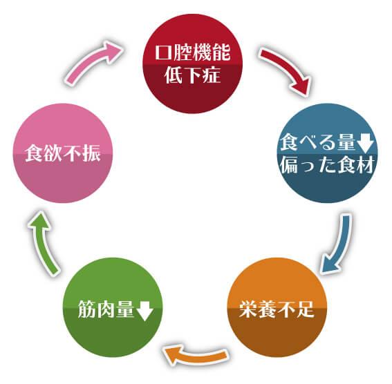 口腔機能が低下するループ図